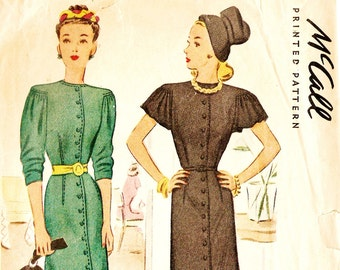 McCall 6168 Vintage 1940s Button Down Dress with Three Quarter or Capelet Sleeves Sewing Pattern Sz 18