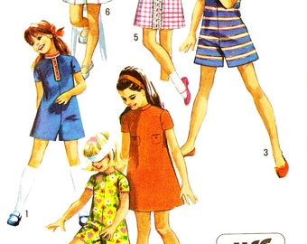 Simplicity 8721 Retro 1970s Girl's Jumper Dress and Pantdress Sewing Pattern Sz 12