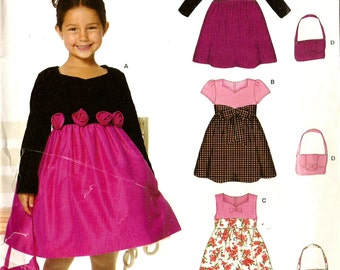 New Look 6771 Girl's Adorable Formal Dress with Roses, Sash and Purse Sewing Pattern