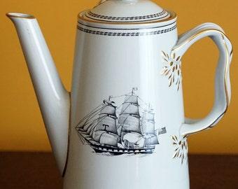 Copeland Spode Coffee Pot, Spode Copeland Trade Winds Black White Diamond Liner Large Coffee Pot Fine Stone