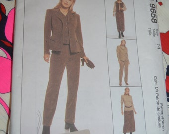 McCalls 9658  Misses Lined Jacket Lined Vest Skirt and Pants Sewing Pattern - UNCUT - Sizes 14 or Size 16