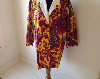 Bold Bright Handmade Cotton Coat With Contrasting White Collar, Bust to 40 inches
