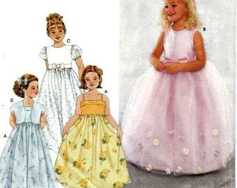 Children Girls Dress Bolero Jacket Pattern Size 6 7 8 Special Occasion Empire Waist Skirt Overlay Simplicity 9147 Sewing Pattern Uncut