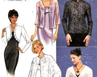 Jackets Capes Boleros Pattern Evening Wear Cover Ups Formal Ruffles Mandarin Collar Butterick 3345 Sewing Pattern Size 6 8 10 Uncut FFolds