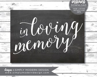 in loving memory sign, in memory, memorial sign, in remembrance, wedding sign, funeral, chalkboard, instant download, printable