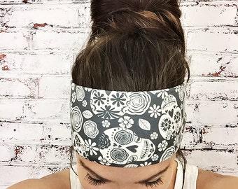 Yoga Headband - Sugar Skulls - Black & White - Eco Friendly