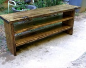 Custom Build for Kristine: Tall Rustic Bench With Boot Cubby 48 Inch