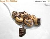 SALE - Chocoholic Bracelet, Chocolate Miniature Food Jewelry, Copper Chain Bracelet,Polymer Clay Food Bracelet,Bracelet Kawaii Jewelry, Food