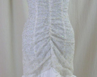 Vintage 80s White Lace Sequined Prom Party Dress XS