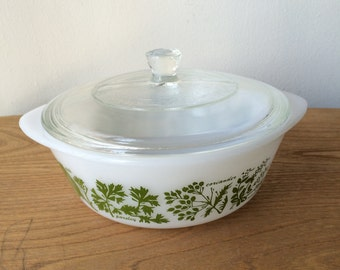 Vintage Glasbake Garden Herbs Milk Glass Casserole with Lid
