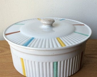 Vintage Ribbed  DeSphinx Parafeu Casserole with Colorful Stripes