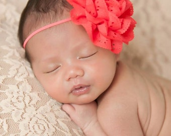 FREE SHIPPING! Cherry Red Headbands, Newborn Headbands, Baby Headbands, Flower Headband, Cherry Headbands