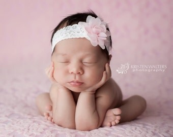 Newborn Headbands, Pink Newborn Headband, Pink Baby Headband, Pink Headbands, Baby Hair Bows, Toddler Headbands