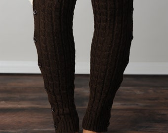 FREE SHIPPING! Brown Cable Knit Leg Warmers, Leg Warmers, Knit Leg Warmers, Cable Knit Leg Warmers, Button Leg Warmers