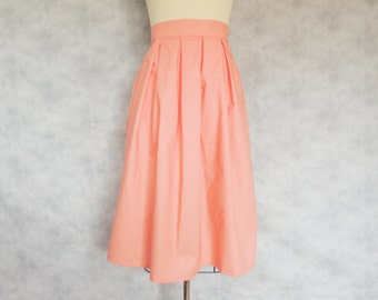 With Pockets Tea Length Strawberry Lemonade Skirt - Midi Skirt, Coral, Pleated, Long, Cotton, High Waisted