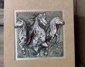 HORSES BREAKING THROUGH card-  graduation - birth- accomplishments- milestone - any occasion - blank page inside