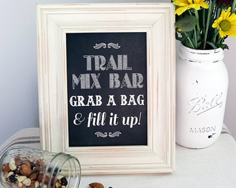 8x10 Instant Download - Trail Mix Bar - Wedding Favor - Candy Bar - Printable Vintage Chic Chalkboard File