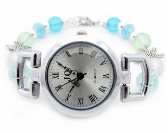 Ladies Watch, Beaded Watch, Wrist Watch, Womens Wrist Watch, Bracelet Watch, Starfish Watch, Woman's Watch, Gift for Her, Nautical Watch
