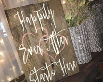 Custom Wood Sign, Happily Ever After Starts Here, wedding signs, wedding signage, bride and groom barn wood. Wedding decor, happy couple.