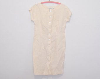 Cream Linen Mini Dress - Late 1980s