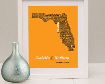 Florida Typography Map, Florida Art Print, FL Wall Art, FL Typographic Map, Custom Florida Map Wedding, FL Poster,  Fl Unique Wedding Gift