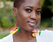 Eye of Horus // Egypt // Afrocentric // Natural Wood Hand Painted Earrings // African and Caribbean Inspired Jewelry
