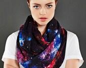 Galaxy Infinity Scarf, Black Nebula Print, Fall Winter Geek Fashion, Birthday Gift For Her Wife Girlfriend