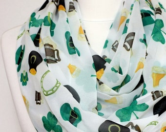 Irish pattern Infinity scarf, St. Patrick Scarf, Circle Scarf, Loop Scarf, Scarves, Spring - Fall - Winter - Summer fashion Sale