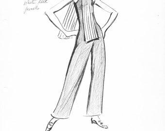 House of Courreges Original Vintage Fashion Sketch Stat Sheet 254