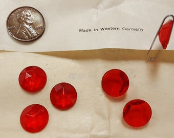 12 Vintage West German Glass Ruby 13mm. Faceted Round Cabochons 4495