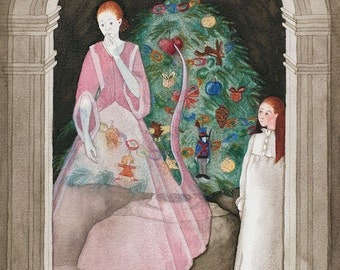 The Spirit of Christmas - original watercolor painting - fantasy fairytale watercolour - victorian ghost story - Xmas tree - red glass heart