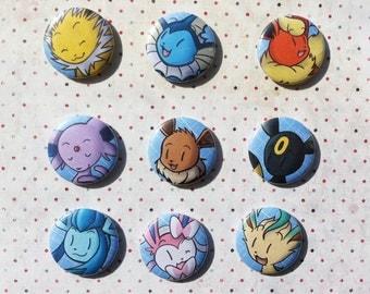 Pin button eevee evolutions - Eevee -Vaporeon-Jolteon-Flareon-Espeon-Umbreon-Leafeon-Glaceon-Sylveon (Pokémon)