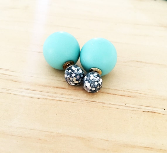 Silver Resin Glitter and Matt Mint Double Ball Earrings
