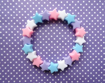 Pastel Stars Beaded Bracelet - Kawaii- Fairy Kei- Sweet Lolita