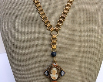 Vintage Bookchain Necklace with Cameo in Micro Mosaic Frame