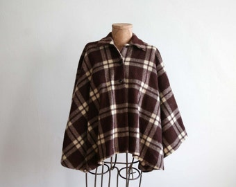 SALE Brown Wool Plaid Poncho
