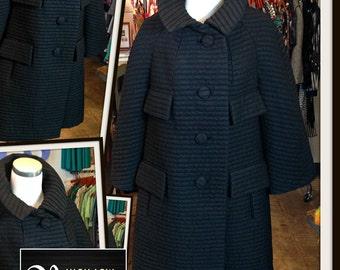 Vintage Black Lilli Ann Wool Blend Coat with Pockets