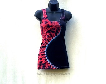 Juniors Small Tie Dye Tank Top/ Curved Red and Black