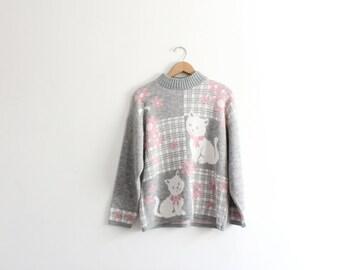 Kawaii Kitty Flower 80s Sweater