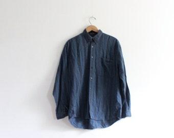 Blue Striped 90s Button Down Shirt