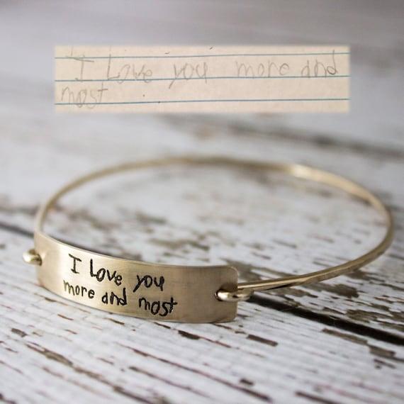 Custom handwriting bangle bracelet