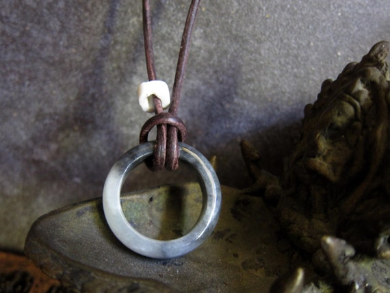 Men's Jade Ring Leather Necklace