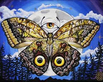"Moonlight Moth,9""×12"" Original Acrylic Painting and Digital Prints"