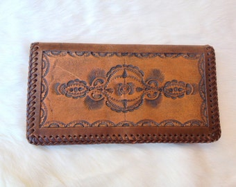 Hand Tooled Leather Brown Wallet