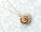Cinnamon Bun Necklace, Kitsch Tiny Cinnamon Rolls, Choice Of Sterling Silver Chain, Cute And Kawaii :D