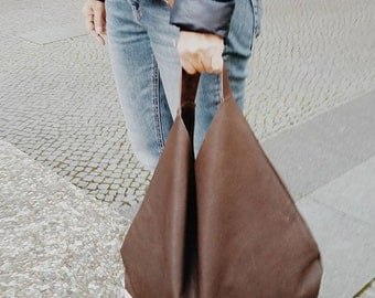 Dark brown Genuine Italian Leather  hobo bag, oversize, Shopping bag, Laptop bag, Handbag, Everyday bag, Large, Slouchy, shoulder bag