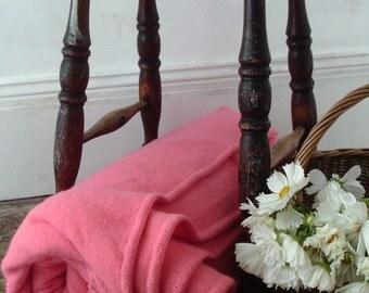 Huge vintage bubblegum pink Merino wool blanket