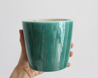 Wheel thrown ceramic cup Green brilliant glaze and green brushstrokes- Ready to ship