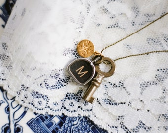 Vintage Typewriter Key Necklace with Gold Compass & Trunk Key (one letter)