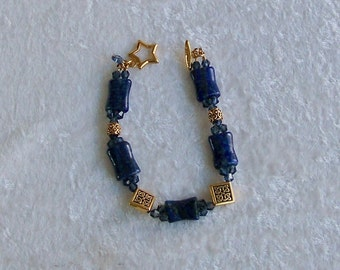 Lapis Lazuli Bracelet, Gold Bracelet, Celtic Knot Bracelet, Lapis Bracelet, Lapis Lazuli Jewelry, Lapis Jewelry, Blue and Gold Bracelet